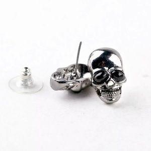 Jewelry - 💀Gunmetal skull goth punk stud earrings NWT💀